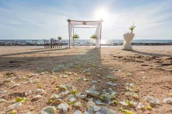 Petals on the sand before a beach wedding